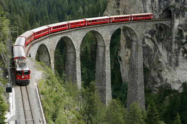 A train crosses the Landwasserviadukt bridge near the eastern Swiss town of Filisur.