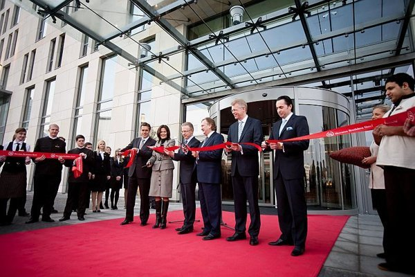 The ceremonial ribbon-cutting at the new five-star Sheraton Hotel in Eurovea centre.