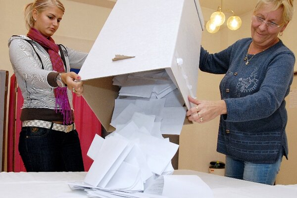 Counting votes in a district of Banská Bystrica.