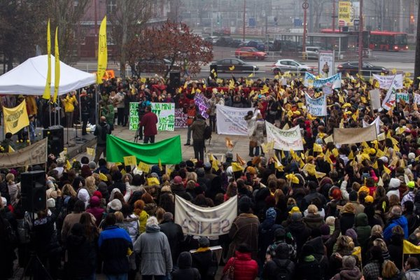 Thousands of teachers gathered in Bratislava.