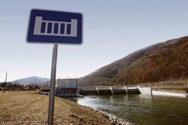 Renewable energy: A small hydroelectric power station on the Hron River.