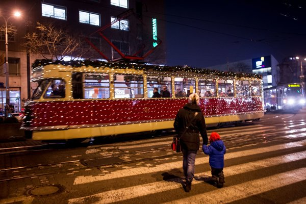The Christmas tram how it looked in 2014.