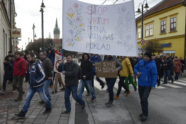 The January protest against Alpine Oil and Gas company in Prešov.