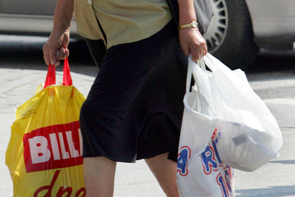 Plastic bags are popular in Slovakia, illustrative stock photo.