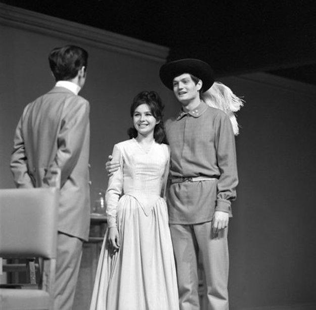 L-R: Ivan Mistrík, Emília Vášáryová and Jozef Adamovič in Stodola's drama Marína Havranová, directed by Karol Zachar in SND, Nov 29, 1968.