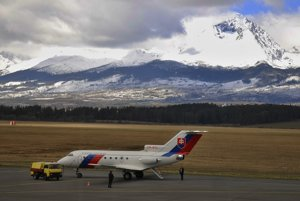 The airport in Poprad below the High Tatras.