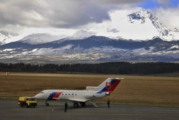 The airport in Poprad below the High Tatras.