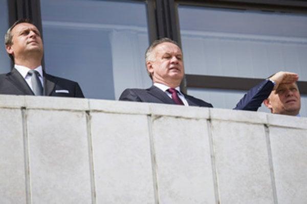 L-R: Parliamentary Speaker Andrej Danko, President Andrej Kiska and Prime Minister Robert Fico on the Constitution Day, September 1.