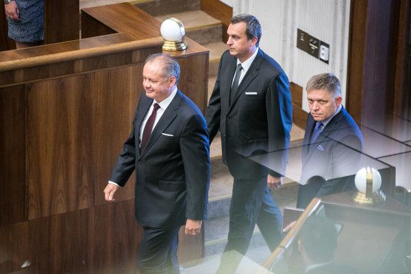 l-r: President Andrej Kiska, Speaker of Parliament Andrej Danko and PM Robert Fico
