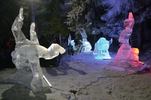 The ice scupltures at Hrebienok, Tatry Ice Masters