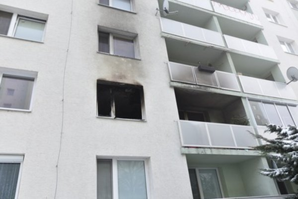 The flat damaged by night fire in Trnava