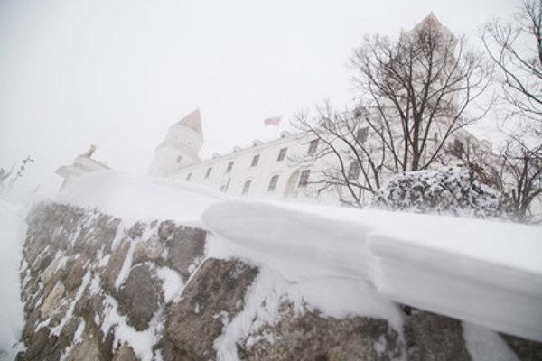 Snowing in Bratislava