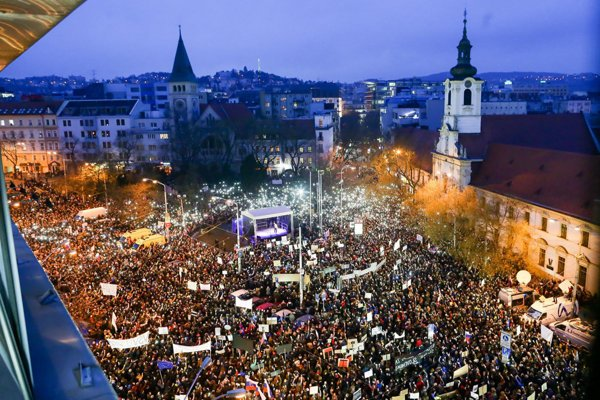 About 50,000 people gathered in Bratislava.