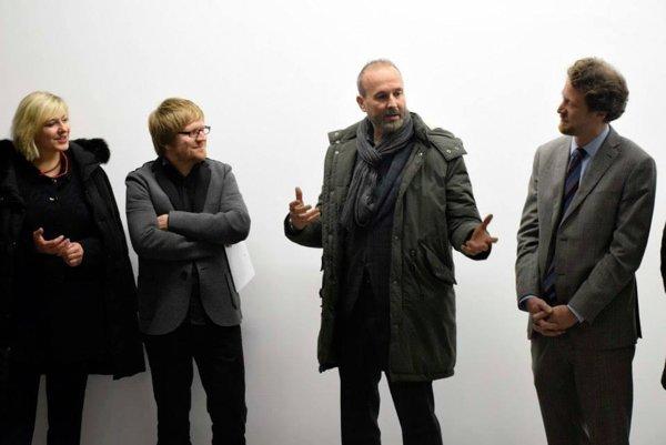 L-R: B,. Trinkl, RKF head; Kunsthalle head J. Čarný; E. Wurm; Austrian Ambassador Helfried Carl