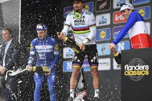 Sagan celebrating his victory in the Gent - Wevelgem race, March 25, 2018.