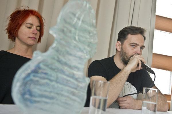 Laureate Sisa Michalidesová (L) and spiritual father of the idea od Esprit Award, Boris Čellár present the award nominees.