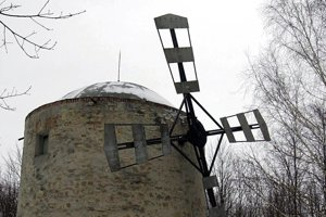 Wind-mill Holíč in winter.