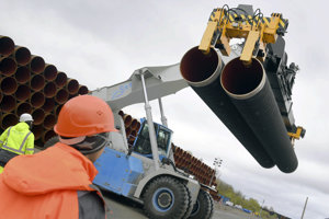 Steel pipes for the North Stream 2 pipeline are uploaded in Mukran harbour in Sassnitz, Germany.