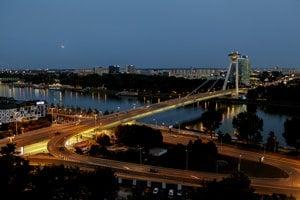 SNP Bridge in Bratislava during the Moon eclipse July 27