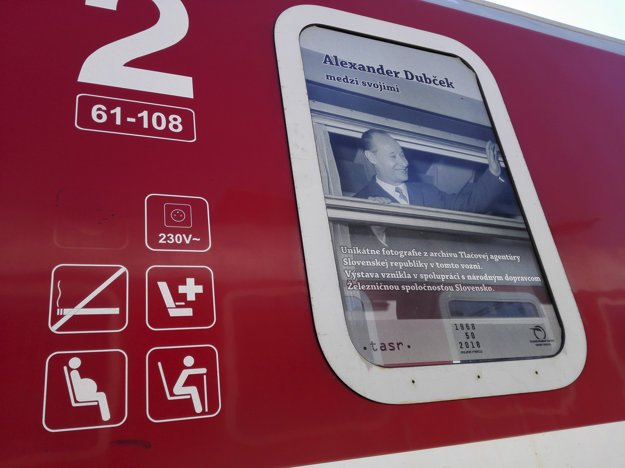 Photo of A. Dubček on a train has appeared on some trains.