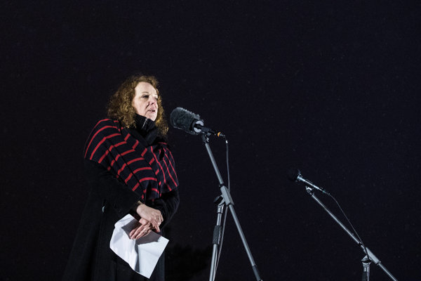 Beata Balogová at the memorial march for Ján Kuciak in Bratislava.