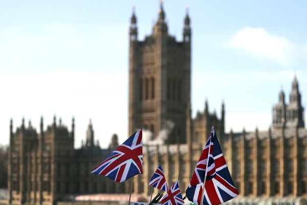 British Union flags fly in front of The Houses of Parliament in London, January 22, 2019.