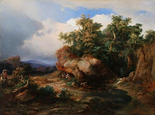 Karol Vandrák: Romantic landscape with figuration, 1840 – 1850. SNG Bratislava
