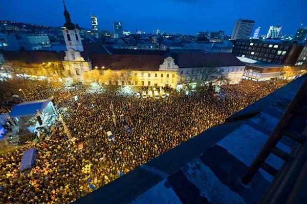 Protest gathering in Bratislava, February 21, 2019.