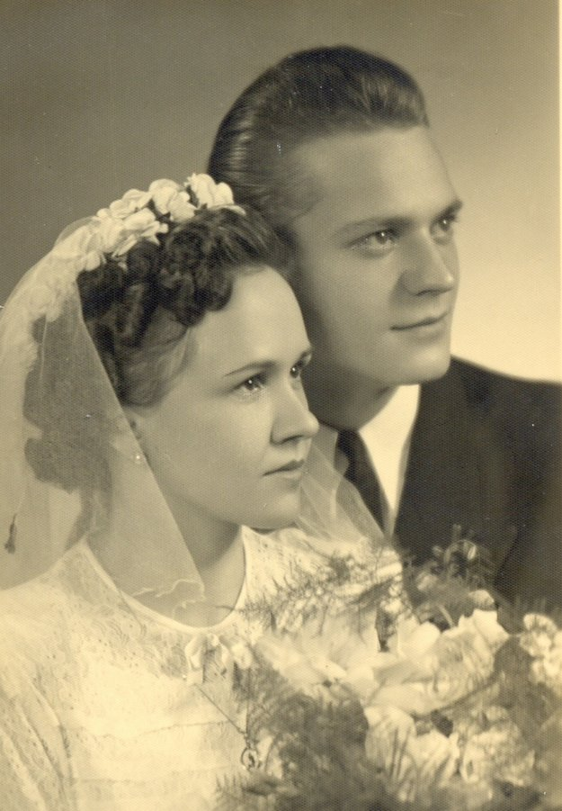 Angela Bajnoková and her husband Jozef on their wedding day