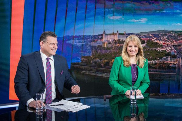 Zuzana Čaputová and Maroš Šefčovič in one of the debates organised by private broadcaster TV Markíza.