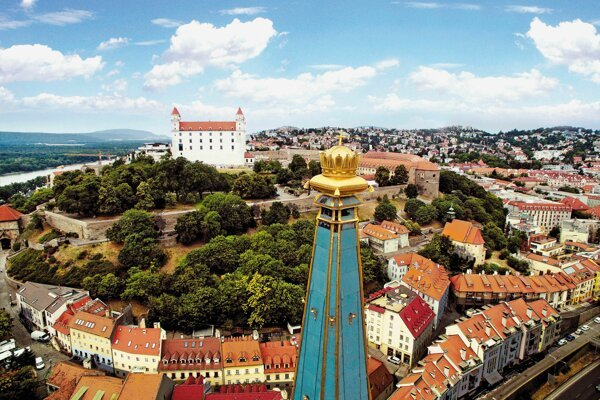 Bird's eye view of Bratislava's Old Town.