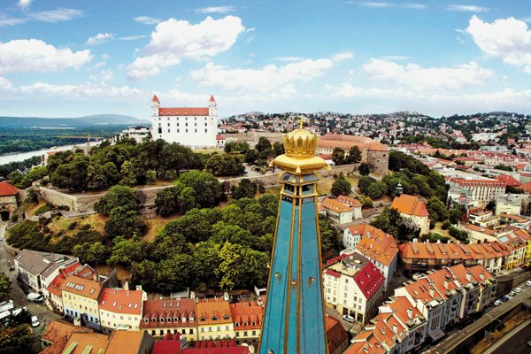 Bird's eye view of Bratislava's Old Town.