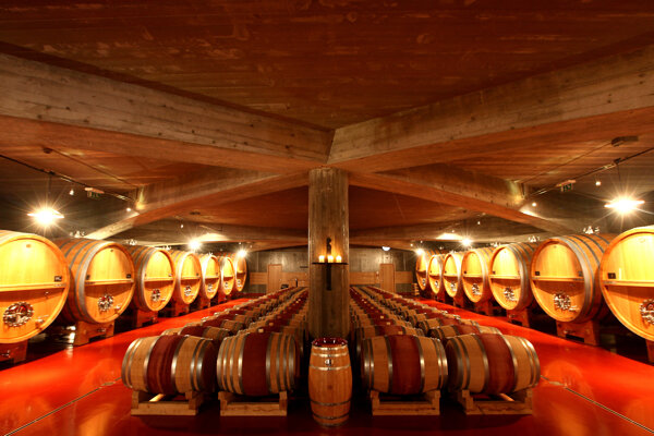The cellar for maturing red wines, built in 2010 with a capacity of 220,000 litres.