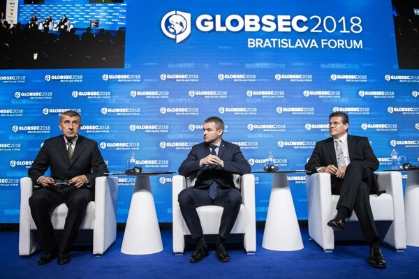 Globsec 2018 discussion. L-r: Czech PM Andrej Babiš, Slovak PM Peter Pellegrini, EC Vice-President for Energy Union Maroš Šefčovič.