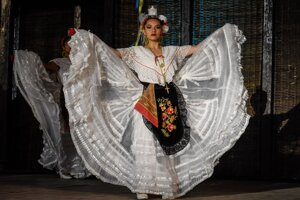 A dancer from Compania Mexicana de Danza Folklorica at the Myjava Folklore Festival.