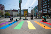 Installation of the rainbow pedestrian crossing ahead of the Bratislava Rainbow Pride March 2019.