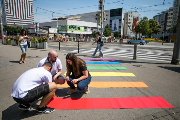 Rainbow pedestrian crossing at the SNP Square in central Bratislava.