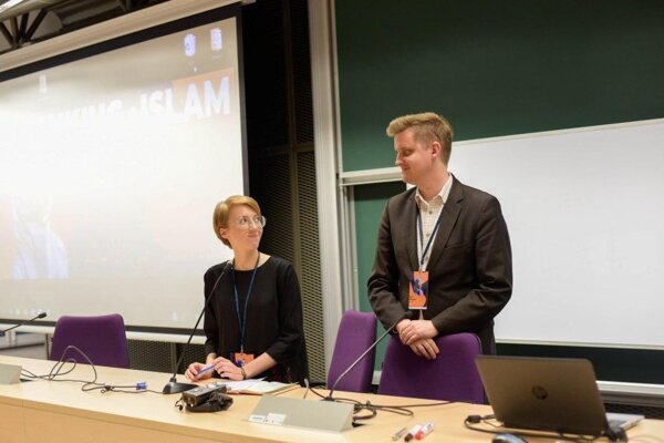 Anna and Karol Wilczyński during the international conference Rethinking Islam co-organised by them in Cracow, Poland in 2019. The conference gathered experts and practitioners on the issues of Islam and migration and was aimed at discussing the current issues of social integration and diversity.