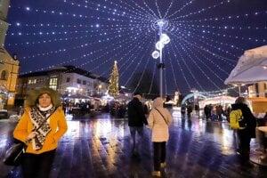 A Christmas market in Zvolen, central Slovakia, on December 13, 2019