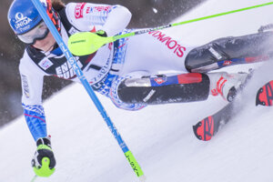 Petra Vlhová competes during a women's slalom in Zagreb, Croatia.