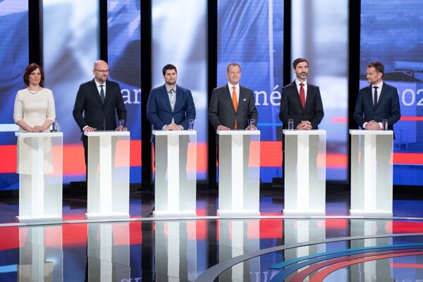 The representatives of parties that will sit in the parliament. L-r: Veronika Remišová (Za Ľudí), Richard Sulík (SaS), Martin Beluský (ĽSNS), Boris Kollár (Sme Rodina), Juraj Blanár (Smer), and Igor Matovič (OĽaNO).