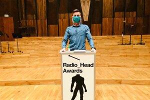 Rádio_FM presenter Martin Staňo hosts Radio_Head Awards 2019 in an empty concert hall of the Slovak Radio building in Bratislava on March 18, 2020.