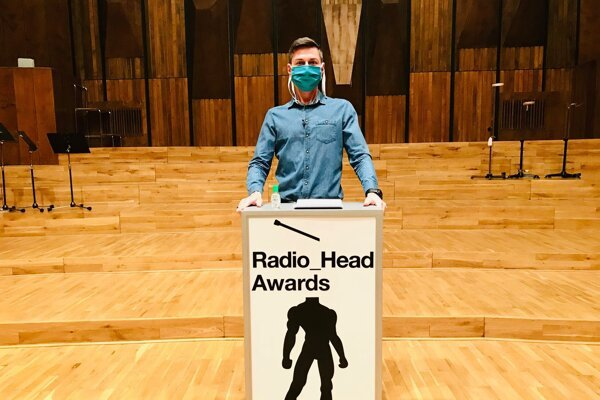 Rádio_FM presenter Martin Staňo hosts Radio_Head Awards 2019 in an empty concert hall of the Slovak Radio building in Bratislava on March 18, 2020.
