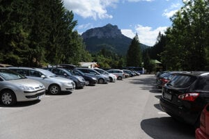 Parking space in Štefanová, northern Slovakia, from where an educational path to Malý Rozsutec and Veľký Rozsutec, peaks in the Malá Fatra mountain range, begins.