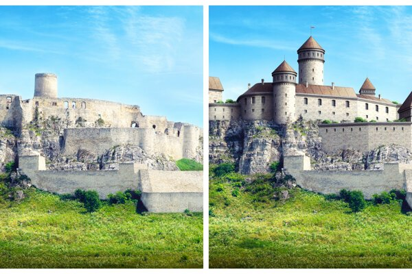 Spiš castle now and how it could look like in the past.