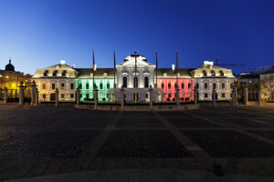 The Presidential Palace in Bratislava lit up with the colours of the Italian flag to show solidarity with Italy on April 15, 2020.