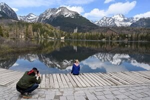 Štrbské Pleso in May 2020.
