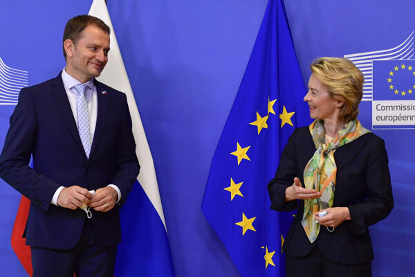 PM Igor Matovič and European Commission President Ursula von der Leyen in Brussels on July 16, 2020.