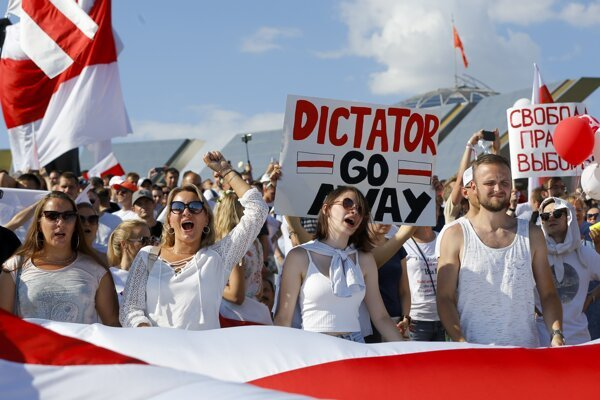 Belarusian opposition supporters rally in the center of Minsk, Belarus, on August 16, 2020.