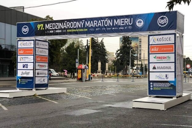 The marathon start-finish line arc stands in Košice ahead of the sports event on September 28.